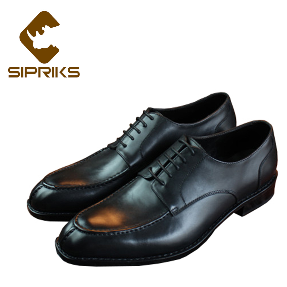 Sipriks hommes en cuir véritable noir solide robe chaussures classique hommes Split Toe robe chaussures Style britannique formel hommes chaussures Grooms