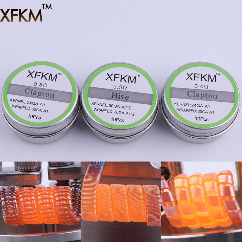 XFKM A1 316 Flat Twisted Wire Fused Clapton Coils Hive Premade Wrapped Wire Alien Mix Twist Quad Tiger Heating Rda Coil