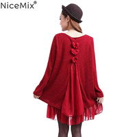 NiceMix 2019 Plus Size Long Sweater Women Gauze Bow Patch Sexy Back Hollow Out Pullover Sweaters Loose Oversize Ladies Tops