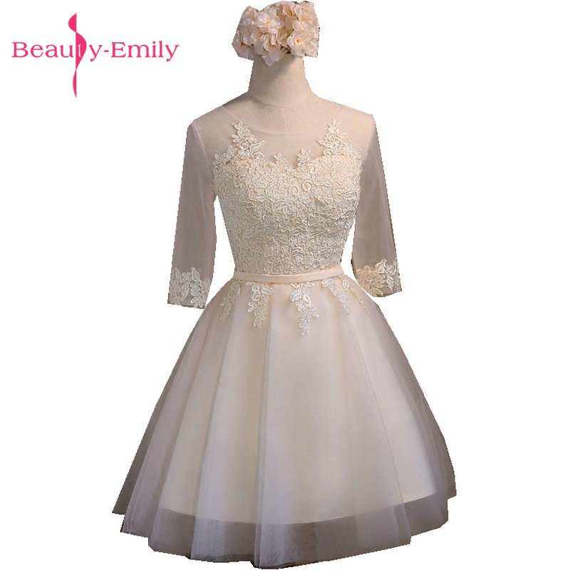 Beauty-Emily Short   Prom     Dresses   A-Line Champagne   Prom     Dress   Gown Formal homecoming   Dresses   Party Gowns Vestido De Festa Curto