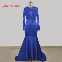 Vestido de festa 2017 sexy black girl prom dress O neckline open back lace appliqued long sleeves royal blue mermaid party dress