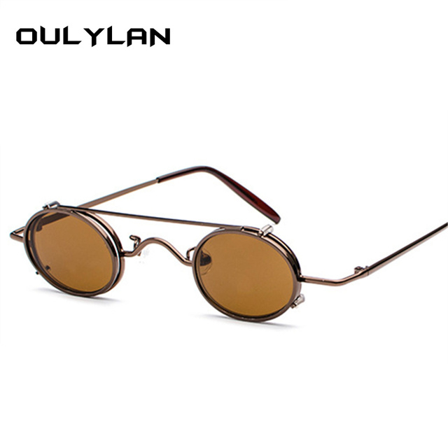 93ecfacc0be82 Oulylan Vintage Steampunk Sunglasses Men Brand Steam Punk Metal Round Sun  Glasses Women Flip Retro Eyewear