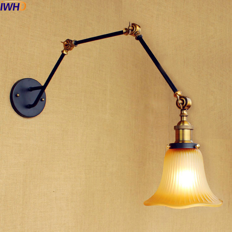IWHD Glass Loft Industrial Wall Sconces Lamp Swing Long Arm Wall Light Vintage Stair Lighting Lampen Lamparas De Pared j e smyth hollywood and the american historical film