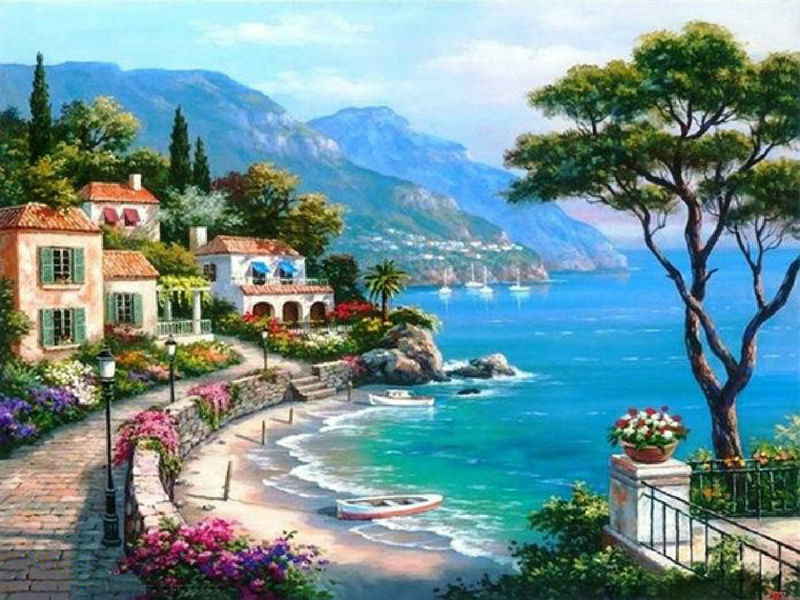 Needlework Diy Diamond Embroidery Seaside Villa Full Square Drill Natural Scenery Diamond Painting Cross Stitch Mosaic Picture