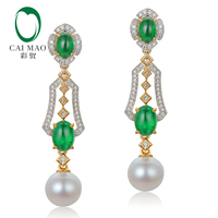 CAIMAO Natural 2.31ctw Cabochon Emeralds and Diamonds 8mm Pearl 18kt Multi tone Gold Retro English Drop Earrings for Women