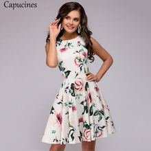 Casual Dress Capucines O-Neck Floral-Printed Mini Women Sleeveless Summer A-Line Girl's