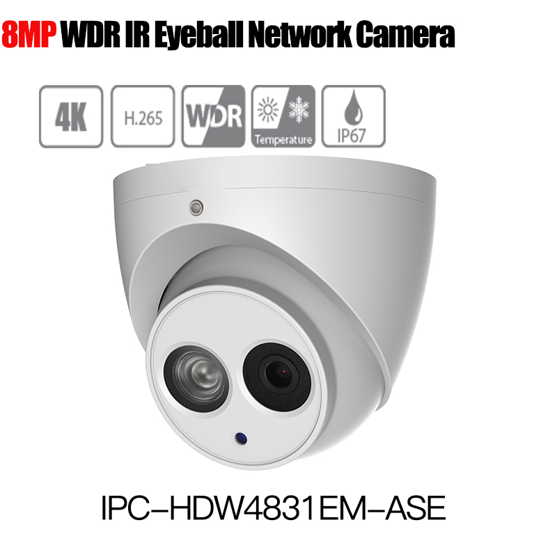 Dahua 8MP Eyeball Network IP Camera IPC-HDW4831EM-ASE H.265 WDR Smart Detect Built-in Mic IP67 PoE support sd card without logo free shipping dahua ip camera cctv 6mp wdr ir eyeball network camera with poe ip67 without logo ipc hdw5631r ze