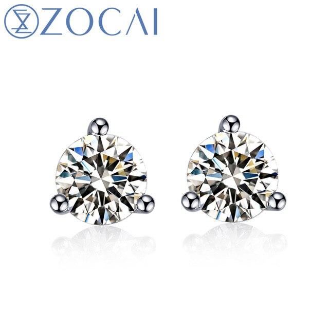 Zocai Trendy Charm Natural 0 50 Ct H Si Certified Diamond Earrings Jewelry Earring Ear Studs