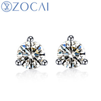 ZOCAI TRENDY CHARM NATURAL 0.50 CT H/SI CERTIFIED DIAMOND EARRINGS JEWELRY EARRING EAR STUDS ROUND CUT 18K WHITE GOLD E00019