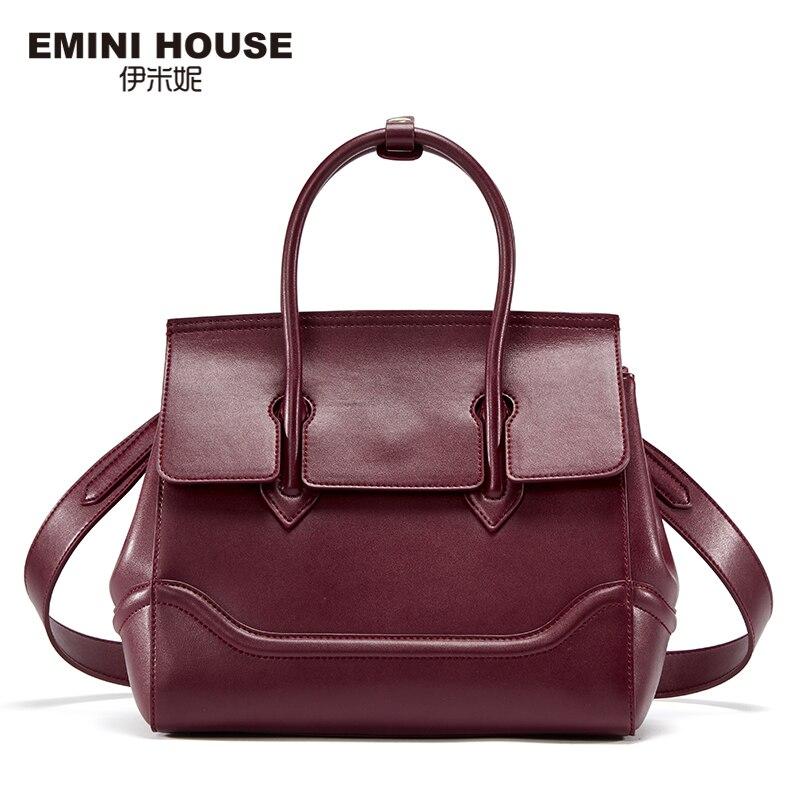 EMINI HOUSE Split Leather Shoulder Bag Vintage Birking Bag High Quality Women Me