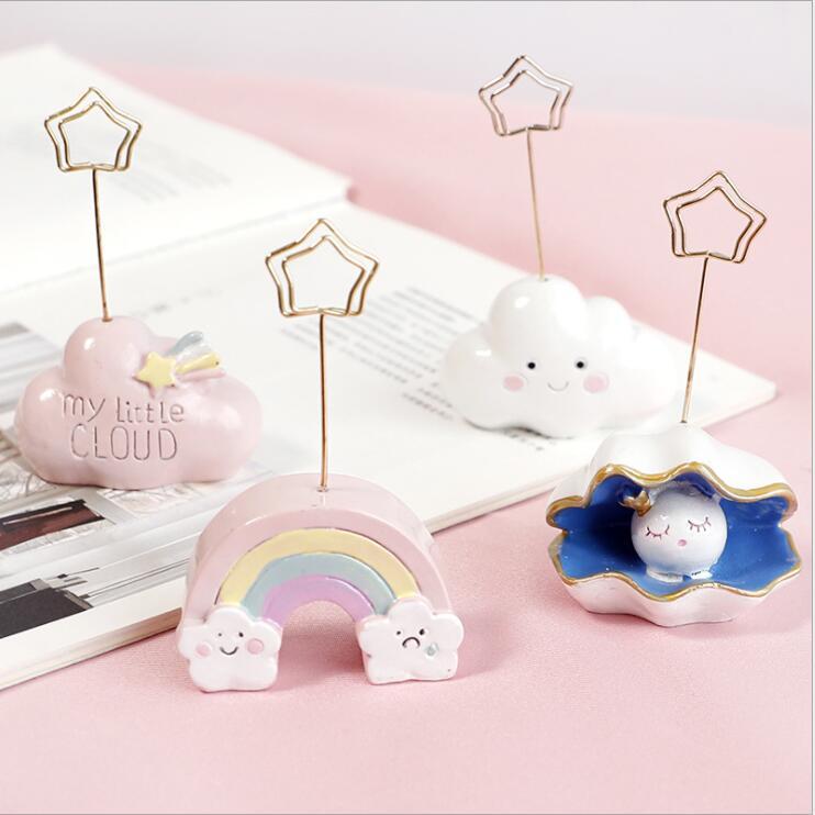 Creative Rainbow Cloud Resin Photo Memo Note Card Clip Holder Wedding Party Clips Desk Decorative Gadget Ornament