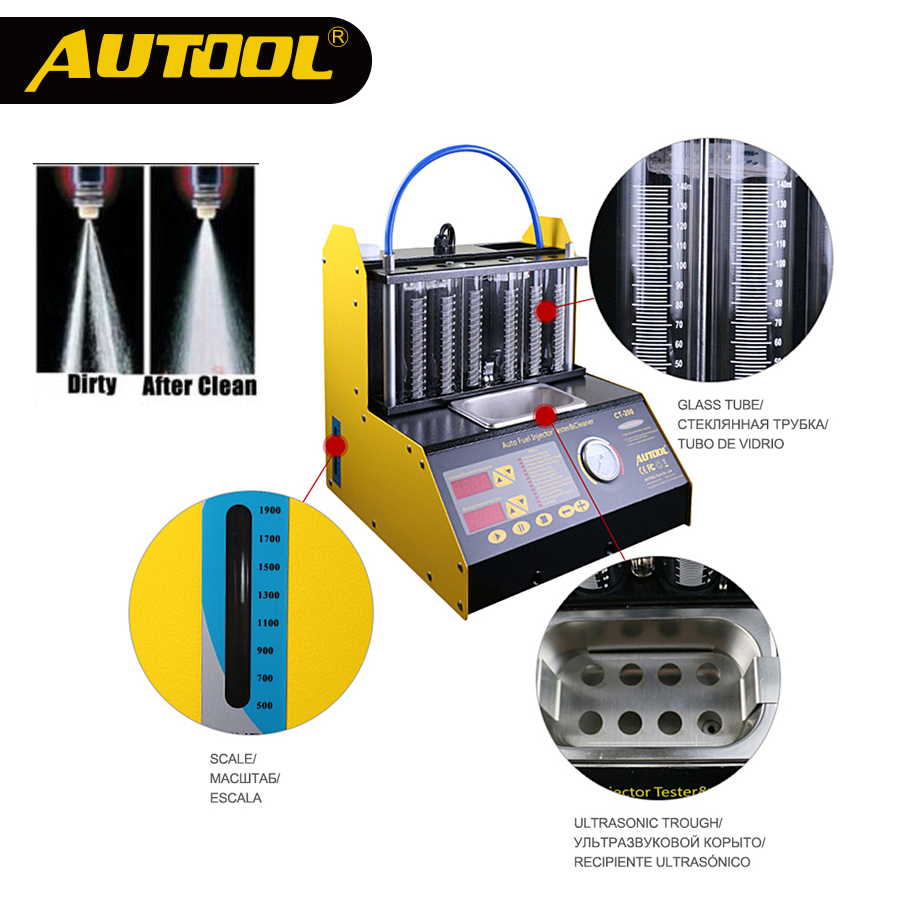 цена на AUTOOL CT200 Ultrasonic Fuel Injector Cleaning Machine Tester Injector Cleaner Car Motorcycle 6 4 Cylinder Clean Tool PK CNC602A