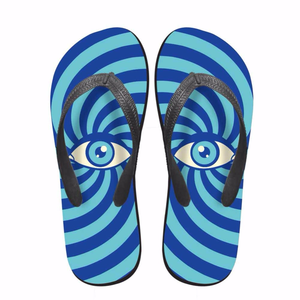 Noisydesigns Colorful striped eyes man shoes printed tongs homme - Men's Shoes - Photo 2