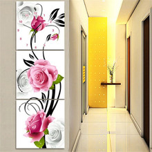 Diamond Embroidery Painting Clock Timekeeper Flower Diamond Mosaic Cross Stitch Wall Art Picture for Living Room Decoration 3PCS