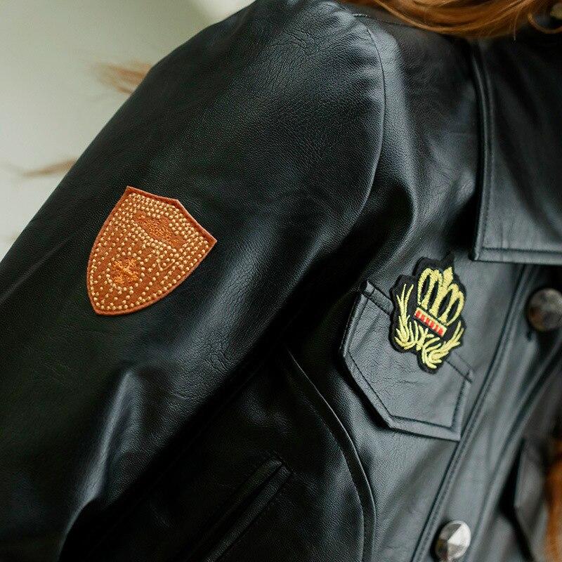 Donne Nero Baseball Motociclo Cappotti Il A Del Bomber Elaborazione Molla Di Cuoio Bottoni Dell'unità Lunghe Giacca Delle Bikers Maniche Monopetto Tasche 2018 1IPw8xw