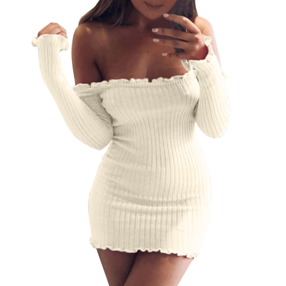Womens Off Shoulder Knitted Bodycon Party Ladies Cocktail Bandage Mini Dress