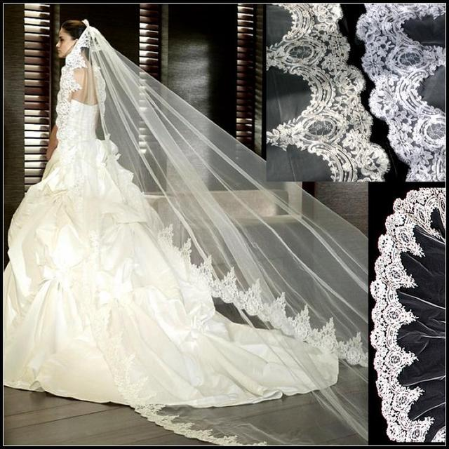 Vintage Long Tulle Cathedral Wedding Veil 3 Meters One Layer White& Ivory Wedding Accessories Bridal Veil With Comb Hot Sales