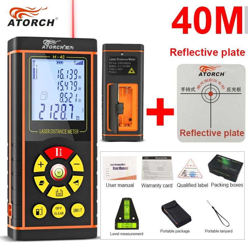 ATORCH 40 M Numérique Laser Mètre de Distance Télémètre Optique Bande Gamme Finder Diastimeter construire Mesure Roulette règle testeur