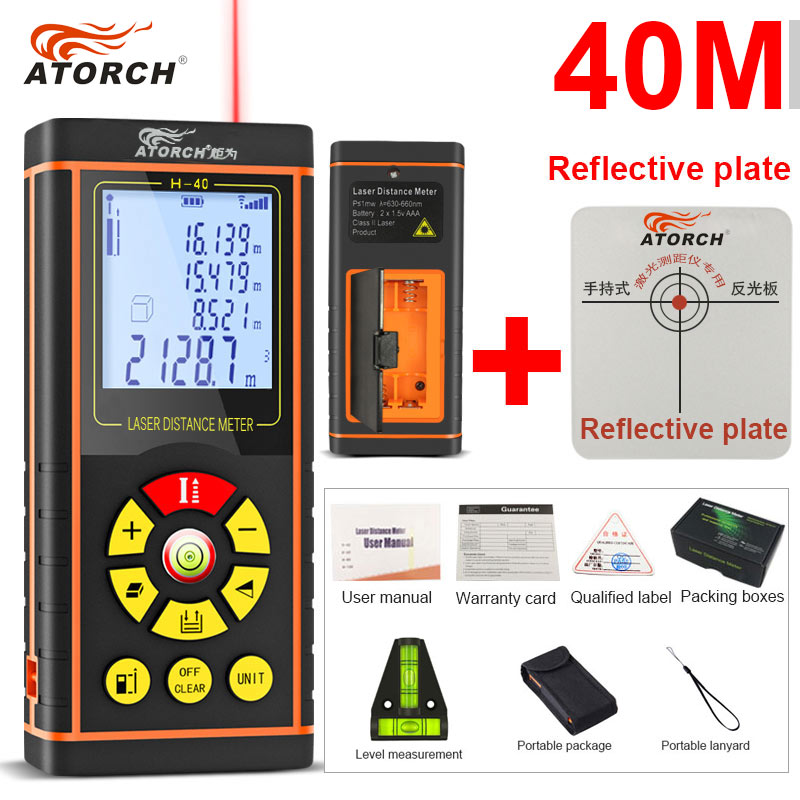 ATORCH 40M Digital Laser Distance Meter Rangefinder Optical Tape Range Finder Diastimeter build Measure Roulette rule tester laser distance meter 40m laser rangefinder laser meter range finder