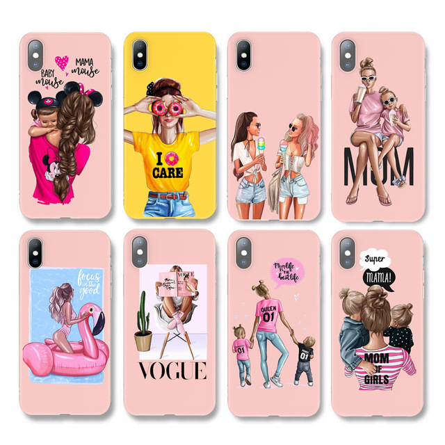 Moskado Silicone For iPhone 7 Phone Case Baby Mom Girl Women For iPhone 11 Pro X 6 6S 7 8 Plus XR XS Max 5 5s SE Soft Back Cover