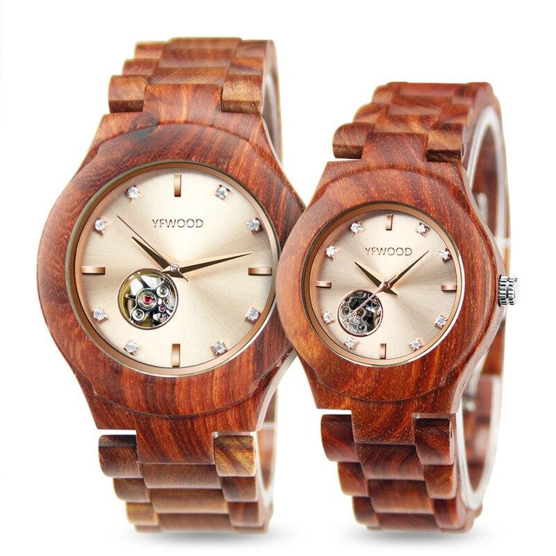 2018 Элитный бренд любителей Часы Для мужчин Для женщин автоматические механические часы Мода Повседневное часы мужской дерева наручные час