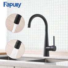 Fapully Kitchen Faucet Brass Matte Black Finish Double Outlet Kitchen Sink Taps 360 Rotate Swivel Spout Mixer Crane Tap 1013 kitchen sink faucet with plumbing hose all around rotate swivel 2 function water outlet mixer tap faucet 5051