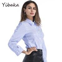 Yibaka Womens 2017 Stylish Pearls Beading Striped Shirts Long Sleeve Cute Chic Blouse Ladies Fashion Casual