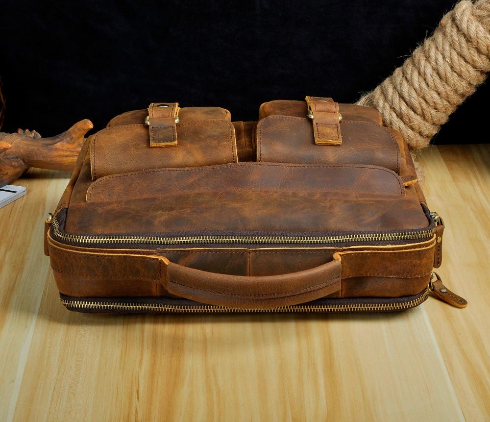 """Le aokuu Men Real Leather Antique Style Coffee Briefcase Business 13 Laptop Cases Attache Messenger Bags Le'aokuu Men Real Leather Antique Style Coffee Briefcase Business 13"""" Laptop Cases Attache Messenger Bags Portfolio B207-d"""