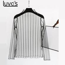LUVCLS Sexy See Through Mesh Tops Summer Hollow Out Female Tee Shirt 2017 Punk Streetwear Camiseta Long Sleeve Women Clothing