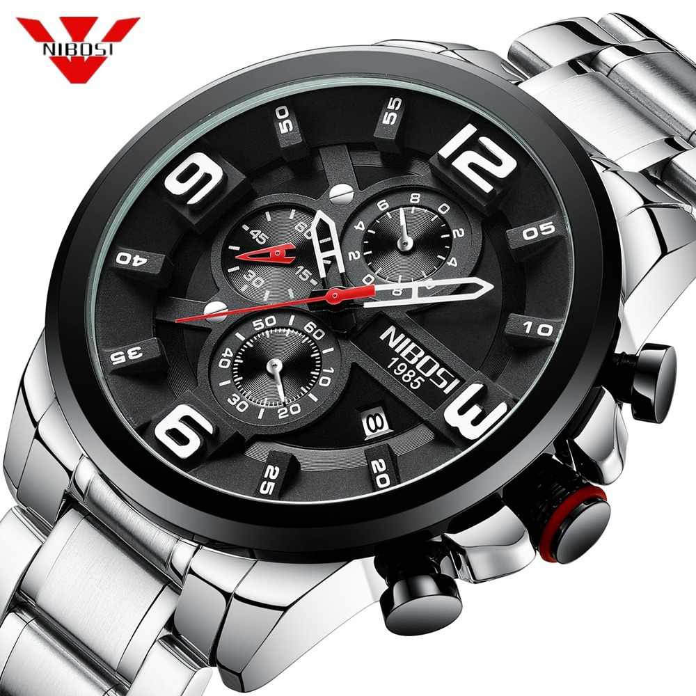 d4fcb9a94b0 NIBOSI 2019 Mens Watches Luxury Top Brand Quartz Wrist Watch Creative Big  Dial Stainless Steel Sport