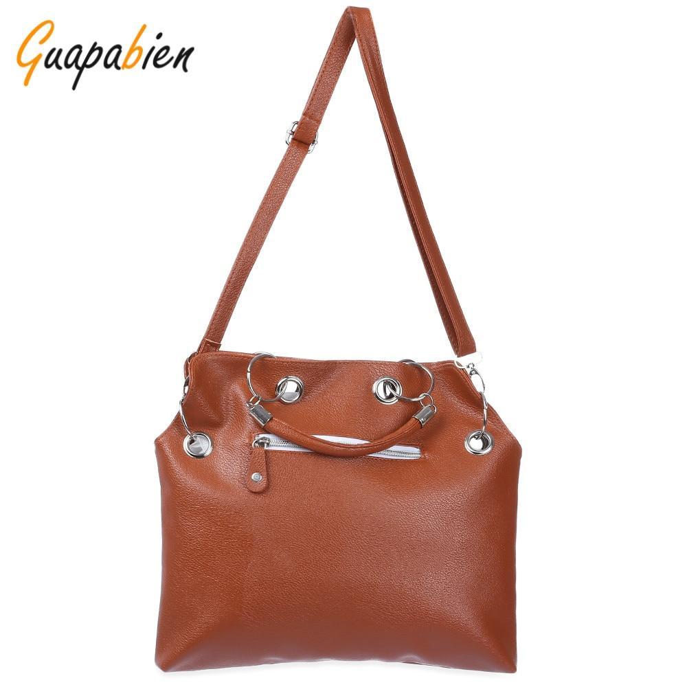 5889056a9d3 Guapabien Women Fashion Brown Zipper Handbag PU Leather Long Strap Satchel Shoulder  Bag Tote Ladies Messenger