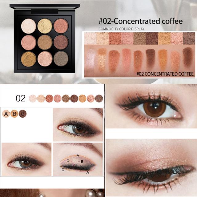 Očné tiene Kazeta 9farieb Eyeshadow Palette 9colors