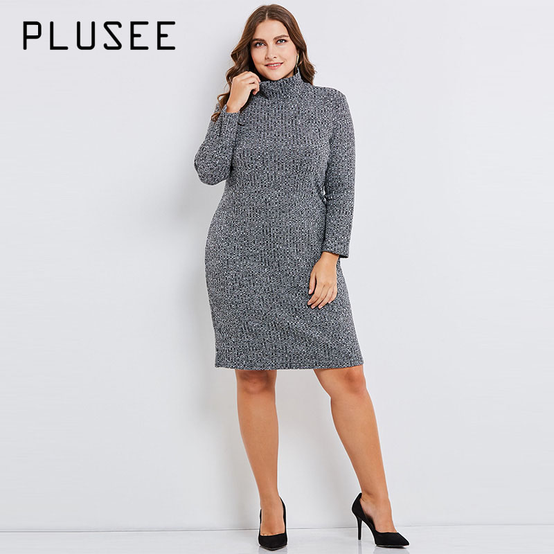Plusee Plus Size 5 XL 6 XL Dress Women Turtleneck Patchwork Color Block Print Knitted Fabrics Dress Plus Size Bodycon Dresses color block plus size dress