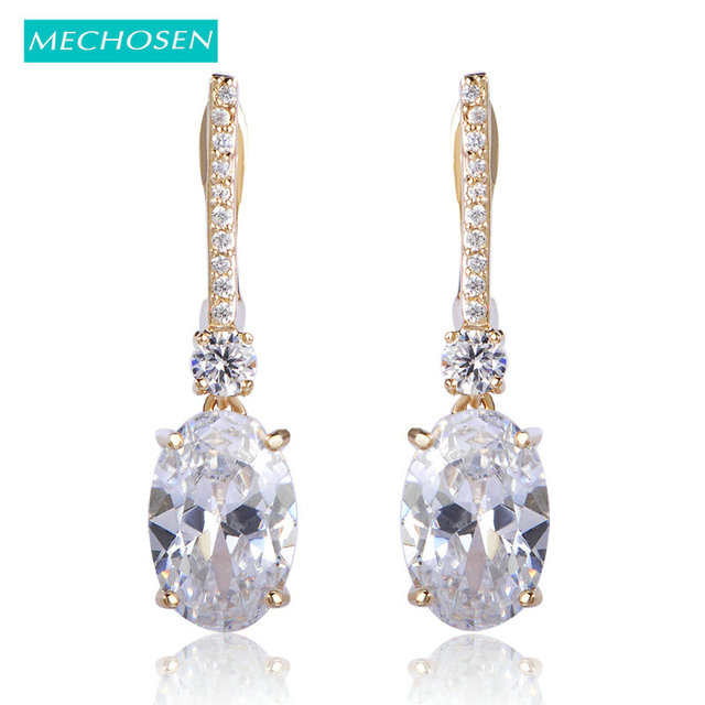 MECHOSEN Rhinestone Square Stud Earrings For Women Princess Buckle Ears  Accessories Wedding Bridal Party Ouro Oorbellen 2609fc9b6645