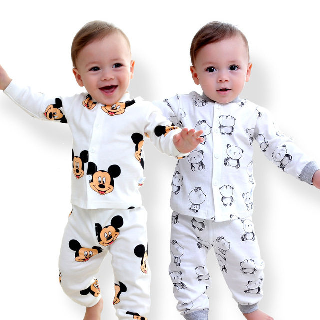 595a26e7995 Kids Cotton Underwear O-Collar Toddler 0-3years Inner Suit Clothes Baby  Boys Girls cartoon Long Johns Pajamas Sets Long-sleeved