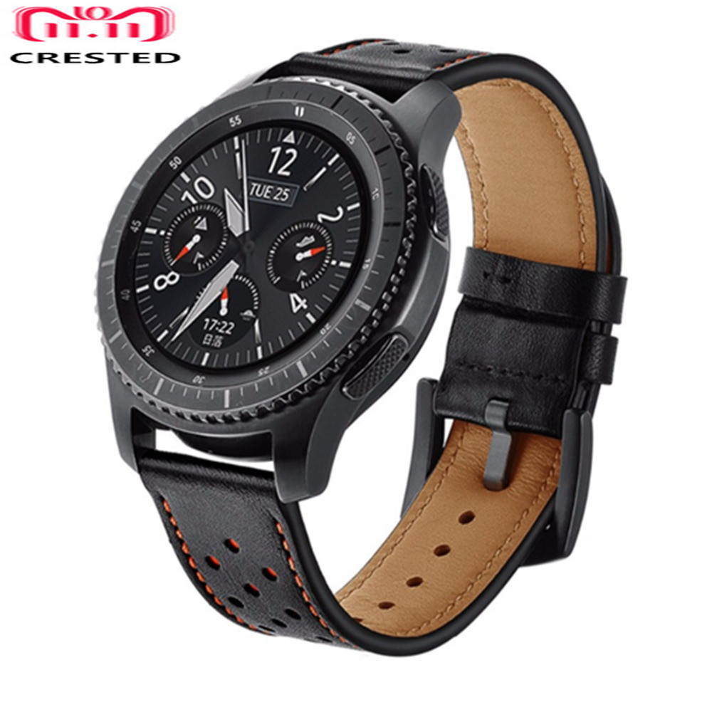 CRESTED Leather Gear S3 Frontier Strap For Samsung Galaxy Watch 46mm 22mm Watch Band Huawei Watch Gt Strap Watchband Bracelet