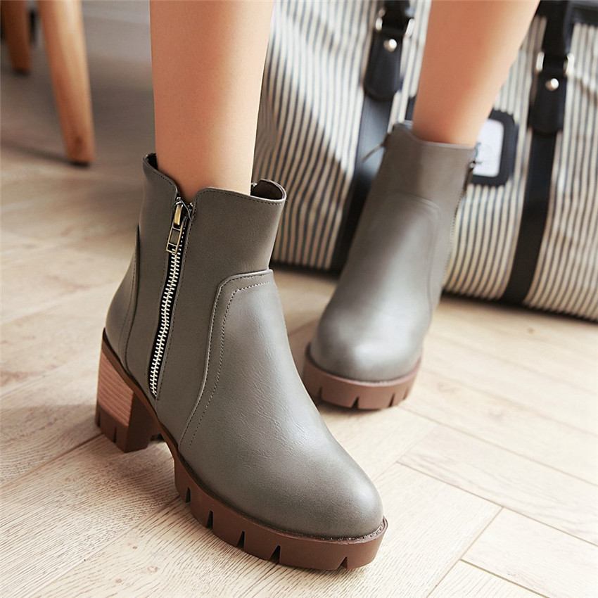 Spring Autumn Square High Heels Ankle Boots Women Short Boots Ladies Shoes botas botte femme Plus Size 34-40.41.42.43