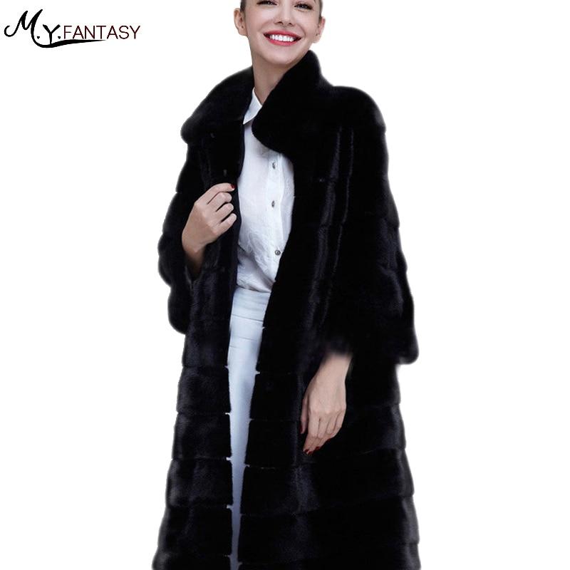 2017Large size women ladies Winter fur coat female fox furtail rabbit hair haying imitation fur in the long section of fur grass