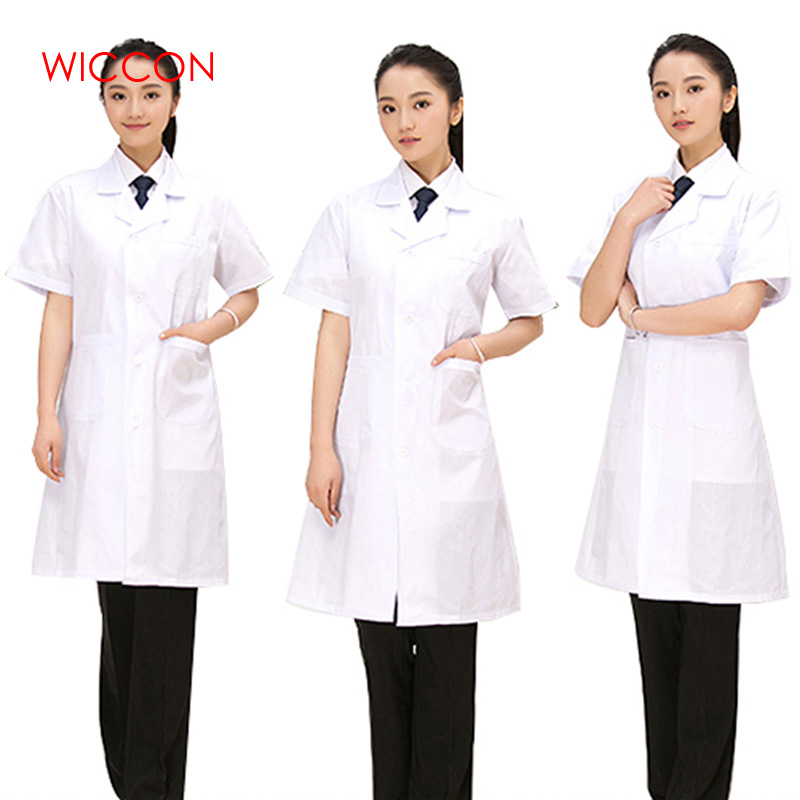 WICCON 2018 New Lady White Short Sleeve Lab Coat Cotton Doctors Scientist Women Nurse Uniform Dress Costume Medical Clothing