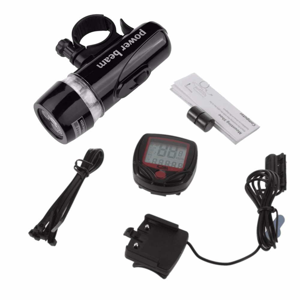 New 5 LED Lamp Bike Waterproof Bicycle Front Head Light Bicycle Meter Speedometer Bike Digital LCD Cycling Odometer Stopwatch