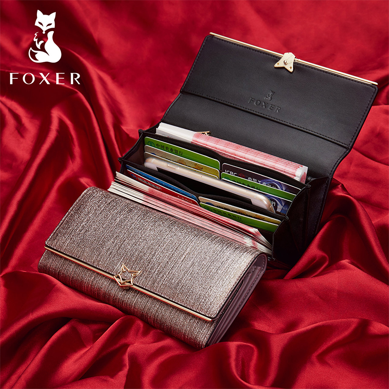 FOXER Wallets Luxury Purse Split-Leather Women Clutch-Bag Coin-Holder Fashion Brand Long
