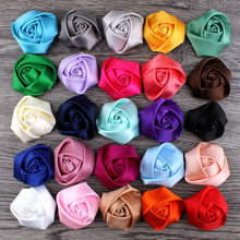 10Pieces/lot Size 3.5cm Satin Ribbon Rose Flower Silk Fabric Flower Handmade DIY Wedding Bouquet Flower Hair Cloth Accessories(China)