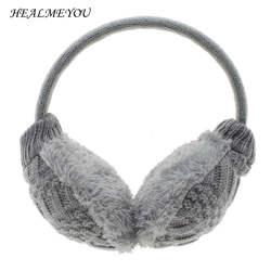 Новый стиль Для женщин человек наушники зимние Наушники Earwarmers теплые наушники повязка унисекс Круглый ухо крышка трикотажные плюшевые
