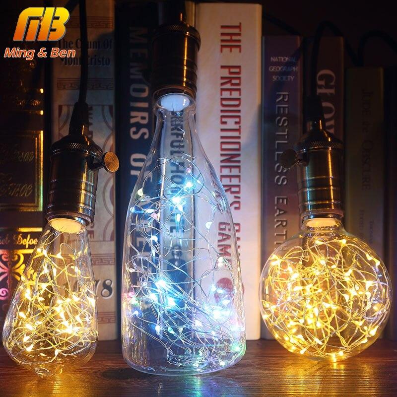 [MingBen] Led String Licht RGB Kupfer Seide Lampe G95 ST64 Winebottle Leds 110 v 220 v Weihnachten dekoration e27 Birne Für Home Cafe