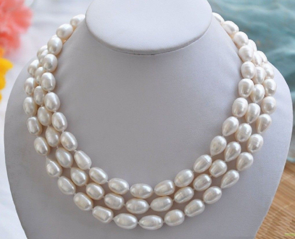 3 ROW huge 11-13mm Natural south sea baroque south sea white pearl necklace AAA fast huge 12 13mm natural tahitian south sea white green pearl necklace 18 aaa