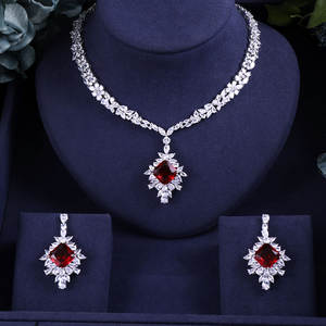 Necklace Earrings Wedding-Jewelry-Sets Crystal Dubai Bridal Acckingafrican Nigeria Women
