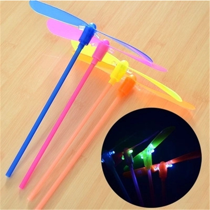 2PC Bamboo Raft With Light Shooting Rocket Flying Parachute  Saucer Outdoor Beach Night Game For Kids Education LED