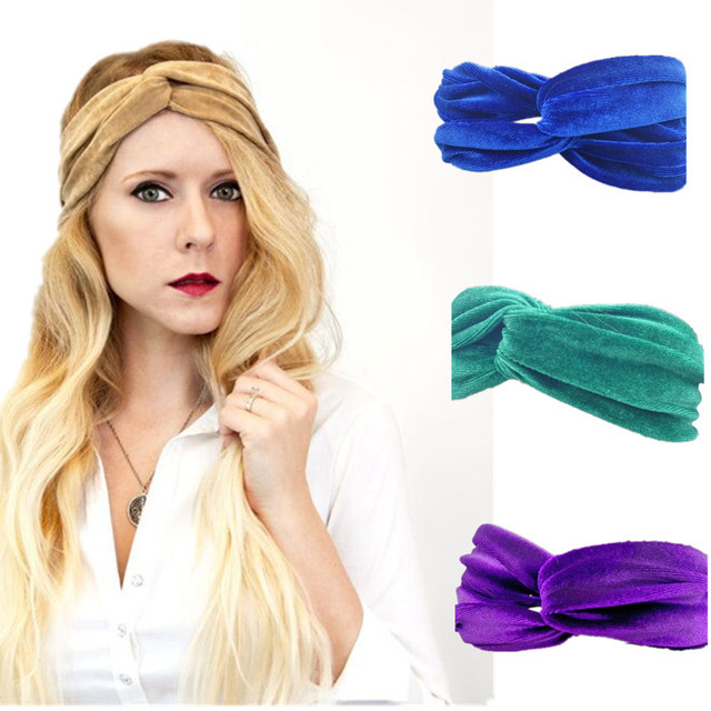 Womens Burgundy Turban Headband Solid Velvet Turban Twist Bow Knot Headband  Headwrap 10 Colors e015f1148ae