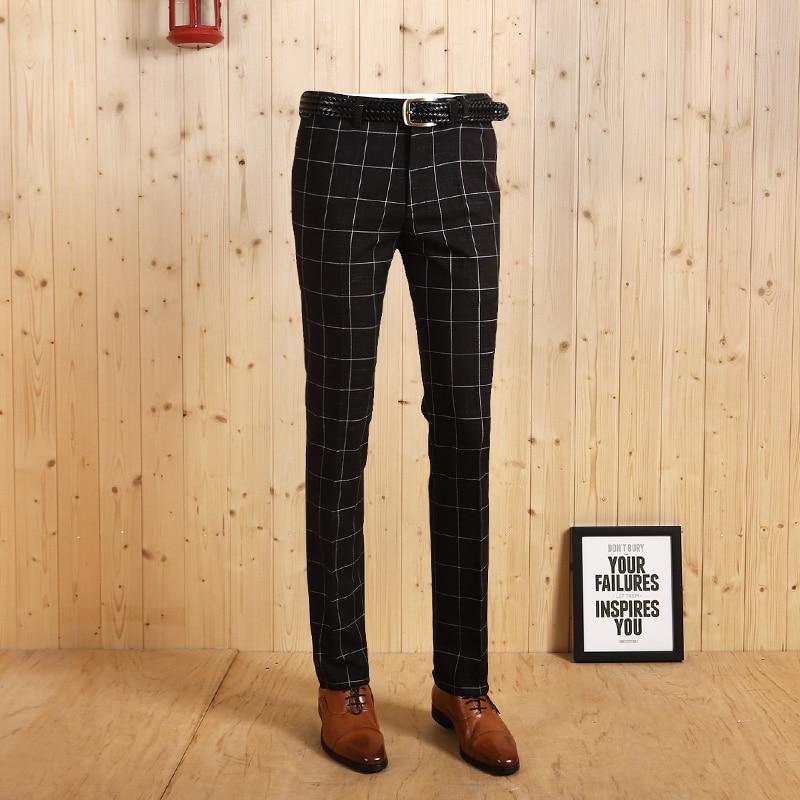 a3c4781b5d9a Haute Qualité 2017 Hommes De Mode de Loisirs Automne Hiver Super Mince  Jeune Homme Noir Plaid Imprimé Smart Casual Formelle Costumes Pantalon