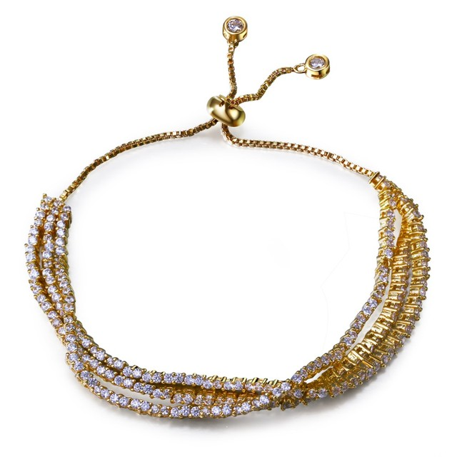 Bracelets for women gold plated with white cz bracelets 3 line design European & American style fashion jewelry Free shipment